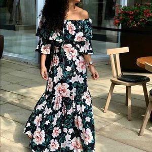 Farm Rio Maria Off the Shoulder Floral Maxi Dress